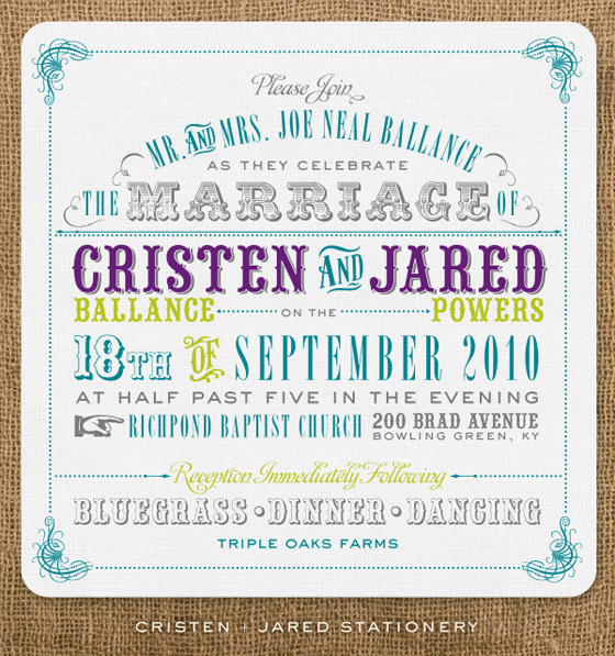 Modern Western Wedding Invitations